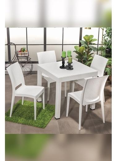 Sandalie Rattan  Small Masa Takımı / Beyaz Beyaz
